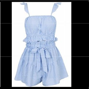 NWT Simplee Blue Gingham Crop Top and Shorts Set